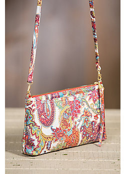 Hobo Darcy Regal Paisley Leather Crossbody Clutch Handbag