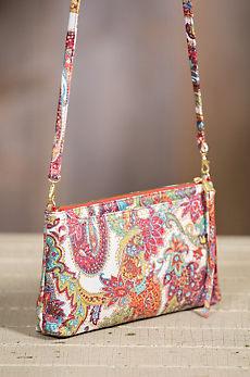 Hobo Darcy Regal Paisley Leather Crossbody Clutch Handbag