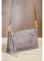 Hobo Cadence Embossed Leather Crossbody Clutch Handbag