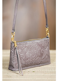 Hobo Cadence Embossed Leather Crossbody Clutch Handbag