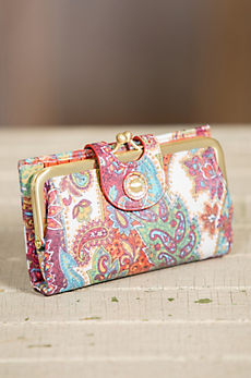 Hobo Alice Regal Paisley Leather Clutch Wallet