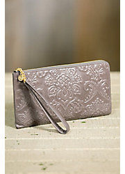 Hobo Rylan Embossed Leather Wristlet Wallet