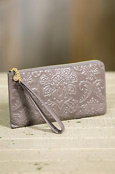 Hobo Rylan Embossed Leather Wristlet Wallet