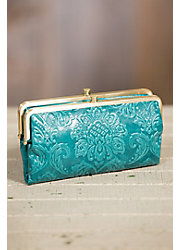 Hobo Lauren Embossed Leather Clutch Wallet