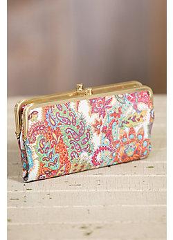 Hobo Lauren Regal Paisley Leather Clutch Wallet