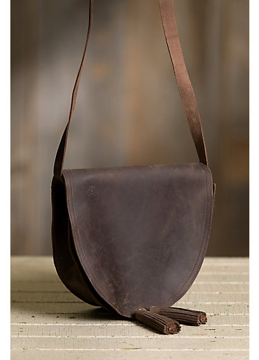 Evie Half Moon Leather Crossbody Shoulder Bag