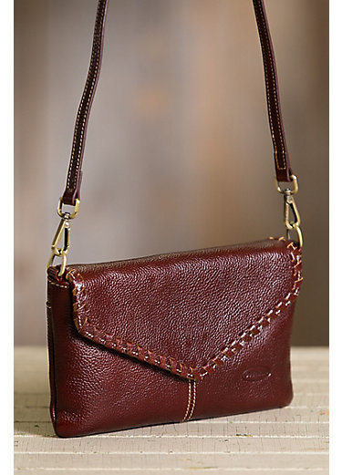 Connie Pebbled Leather Crossbody Wristlet Clutch