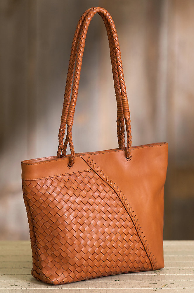 Horizon Woven Argentine Leather Tote Bag