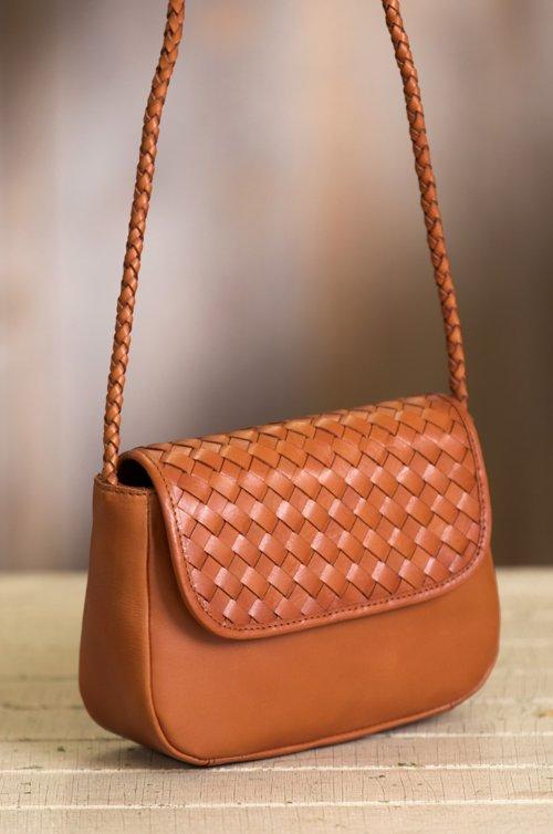 Horizon Woven Argentine Leather Crossbody Bag