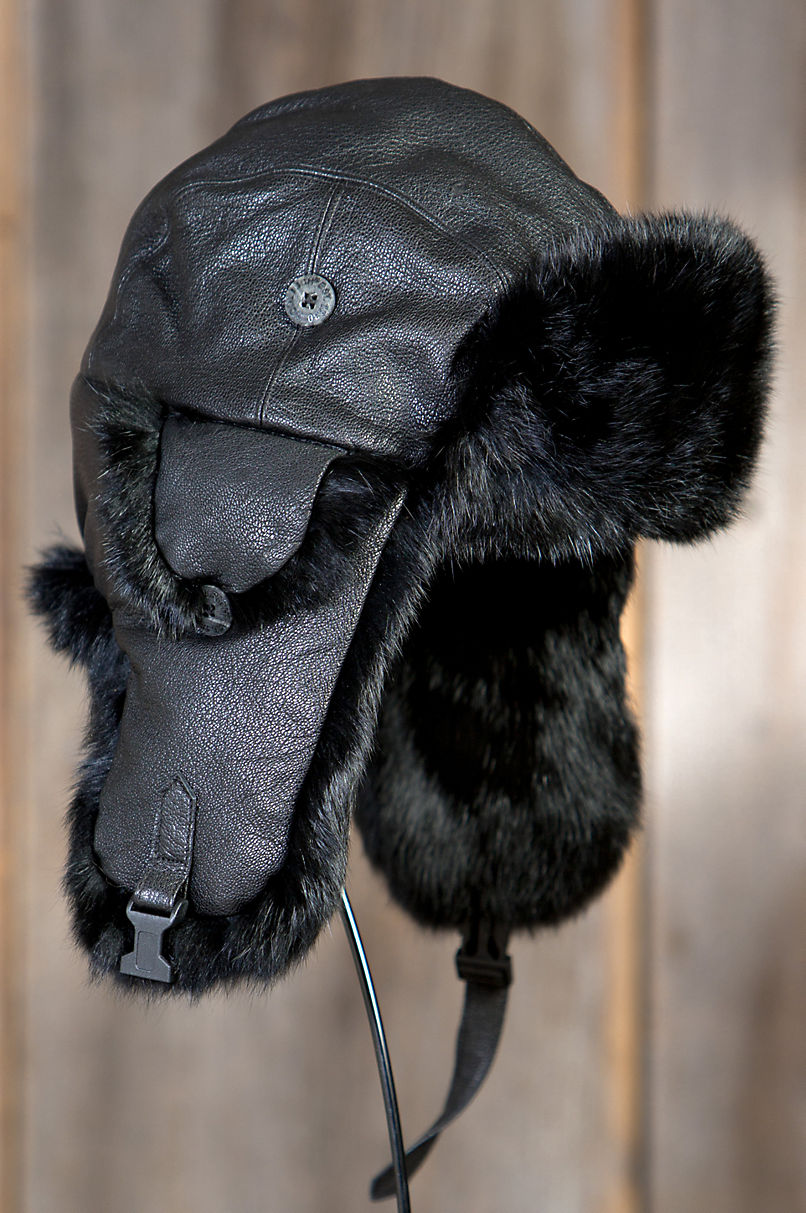 3bf5d32d8b5 Lambskin Leather Trapper Hat with Rabbit Fur Trim