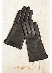 Women's Fleece-Lined Lambskin Leather Gloves