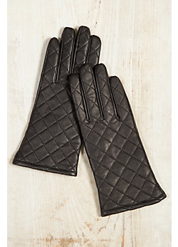 Women's Fleece-Lined Quilted Lambskin Leather Gloves