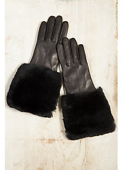 Women's Fleece-Lined Lambskin Leather Gloves with Rabbit Fur Trim