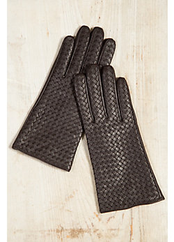 Women's Cashmere-Lined Woven Lambskin Leather Gloves