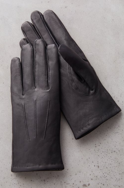 Men's Buttonwood Cashmere-Lined Lambskin Leather Gloves