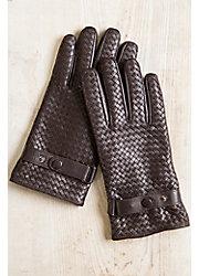 Men's Fleece-Lined Woven Lambskin Leather Gloves