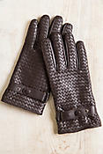 Men's Fleece-Lined Woven Lambskin Leather Gloves