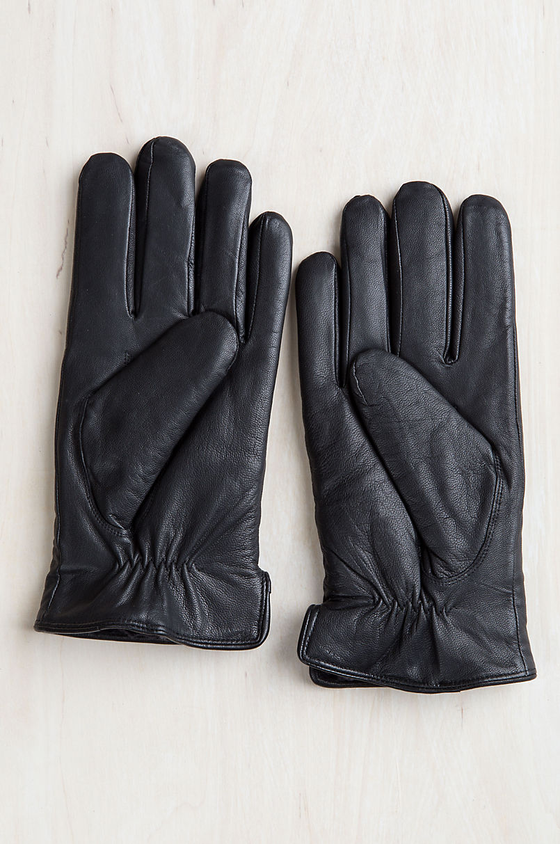 Men's Noble Shearling-Lined Lambskin Leather Gloves