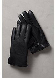 Men's Shearling-Lined Lambskin Leather Gloves