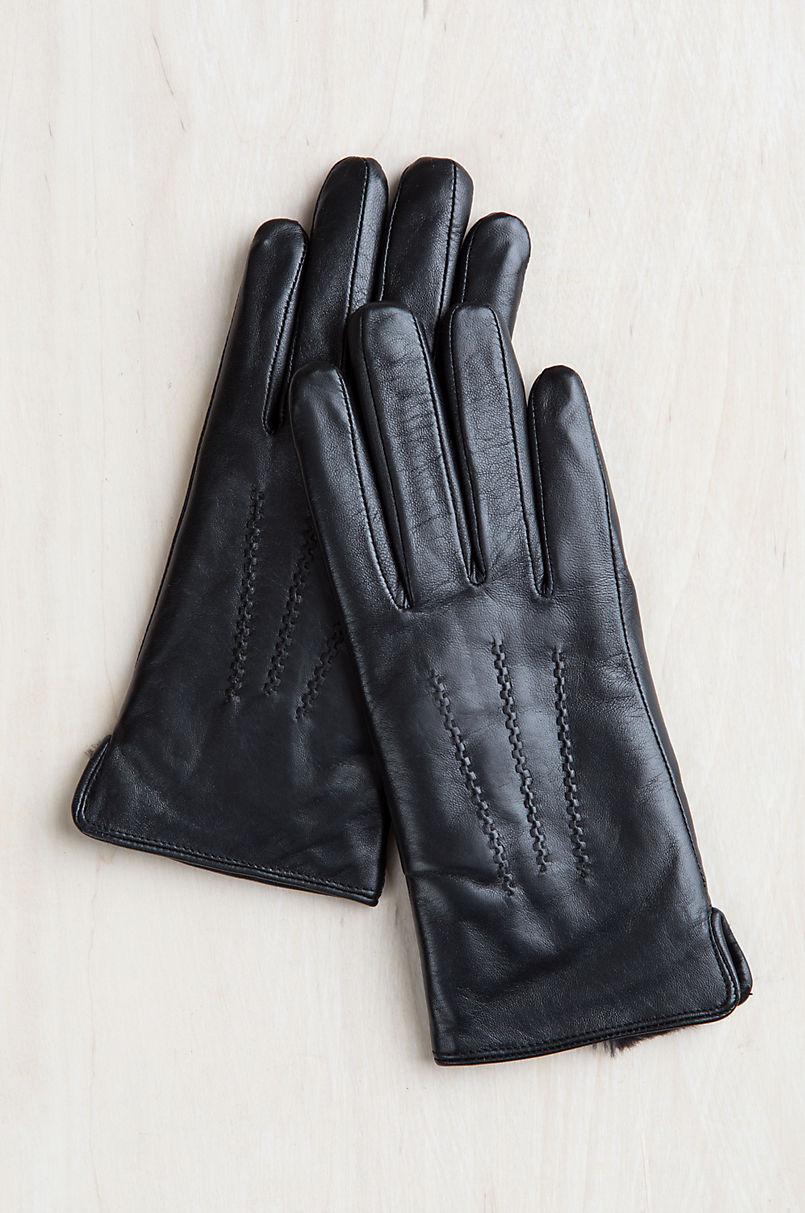 Women's Willow Rabbit Fur-Lined Lambskin Leather Gloves