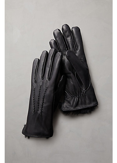 Women's Lambskin Leather Gloves with Rabbit Fur Lining