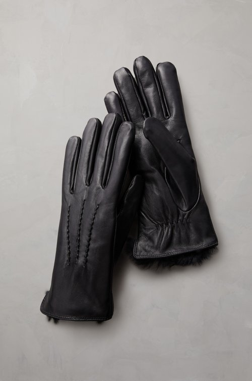 Women's Willow Rabbit Fur-Lined Lambskin Leather Gloves