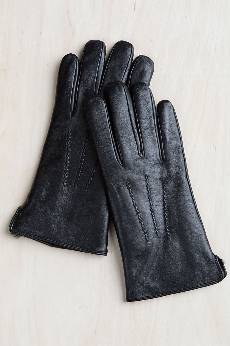 Men's Willow Rabbit Fur-Lined Lambskin Leather Gloves