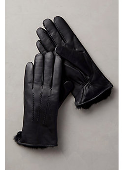 Men's Rabbit Fur-Lined Lambskin Leather Gloves