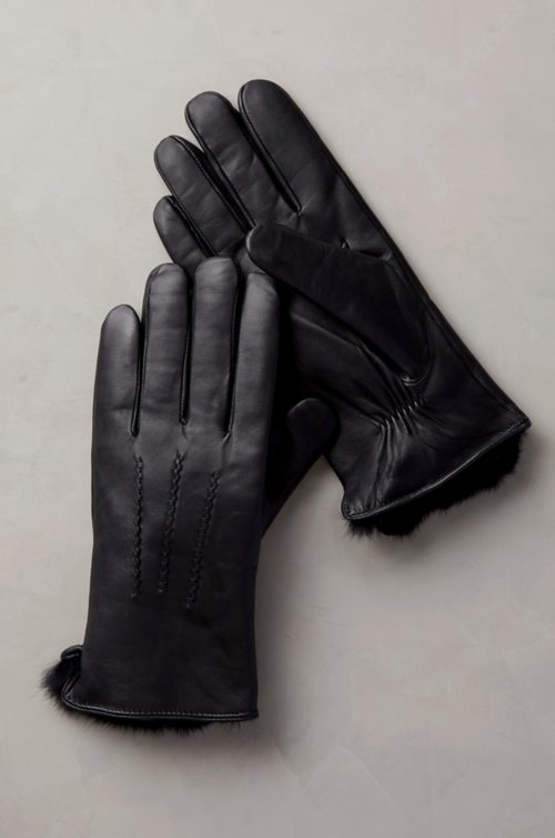 Men's Willow Lambskin Leather Gloves with Rabbit Fur Lining