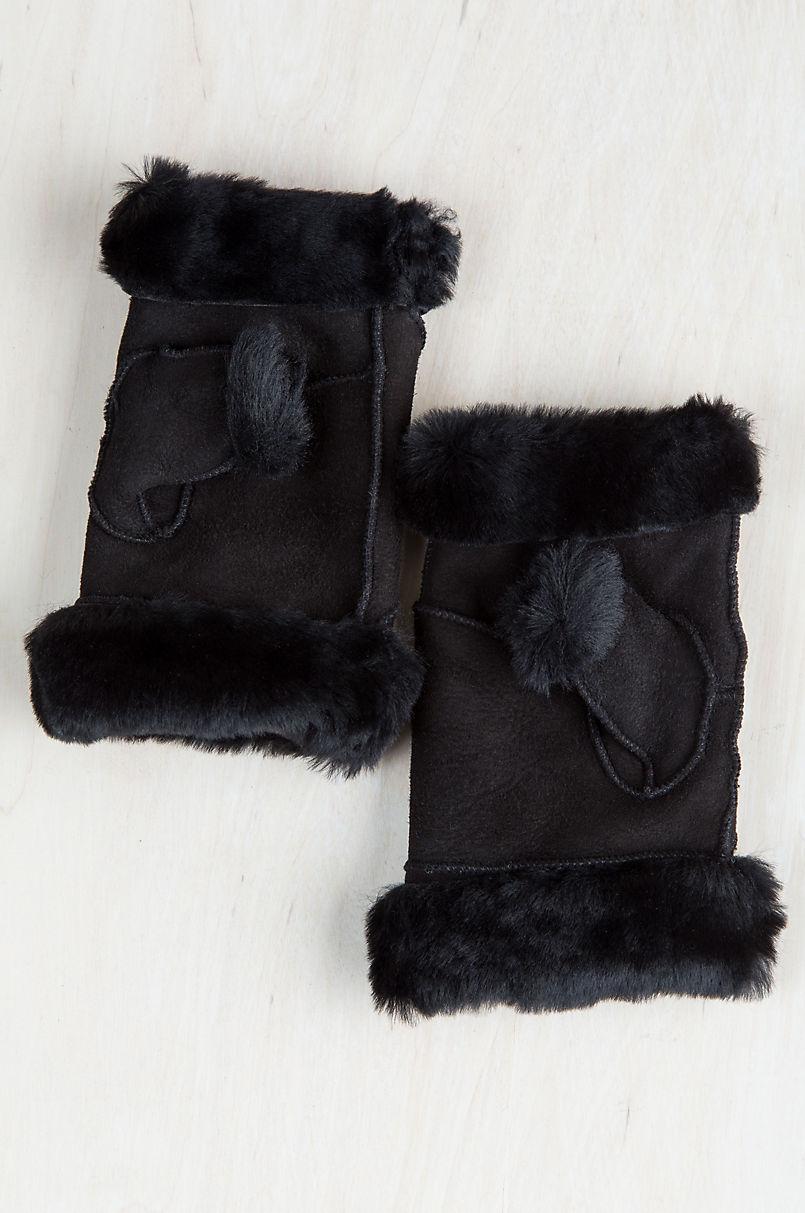 Women's Spanish Merino Sheepskin Fingerless Gloves
