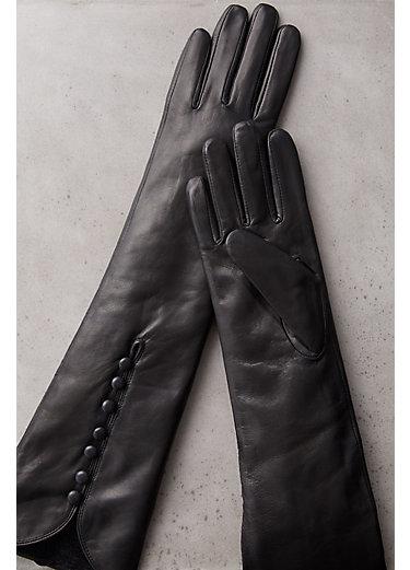 Women's Fleece-Lined Long Lambskin Leather Gloves