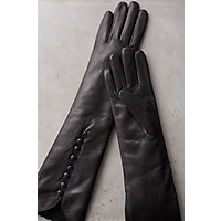 Victorian Gloves | Victorian Accessories Womens Fleece-Lined Long Lambskin Leather Gloves BLACK Size SMALL 6.5 $89.00 AT vintagedancer.com