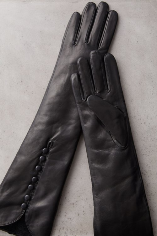 Women's Fleece-Lined Long Lambskin Leather Gloves