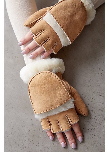 Women's Spanish Sheepskin Fingerless Gloves with Mitten Flap