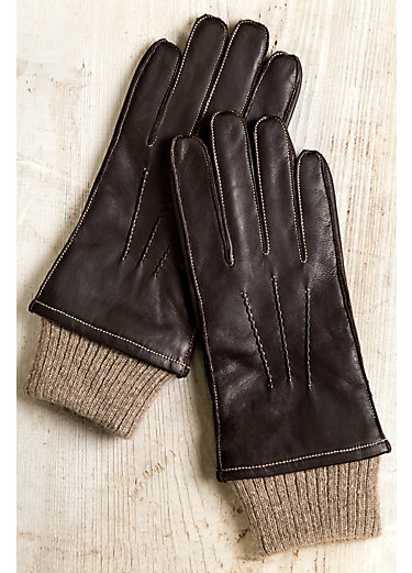 Men's Cashmere-Lined Lambskin Leather Driving Gloves