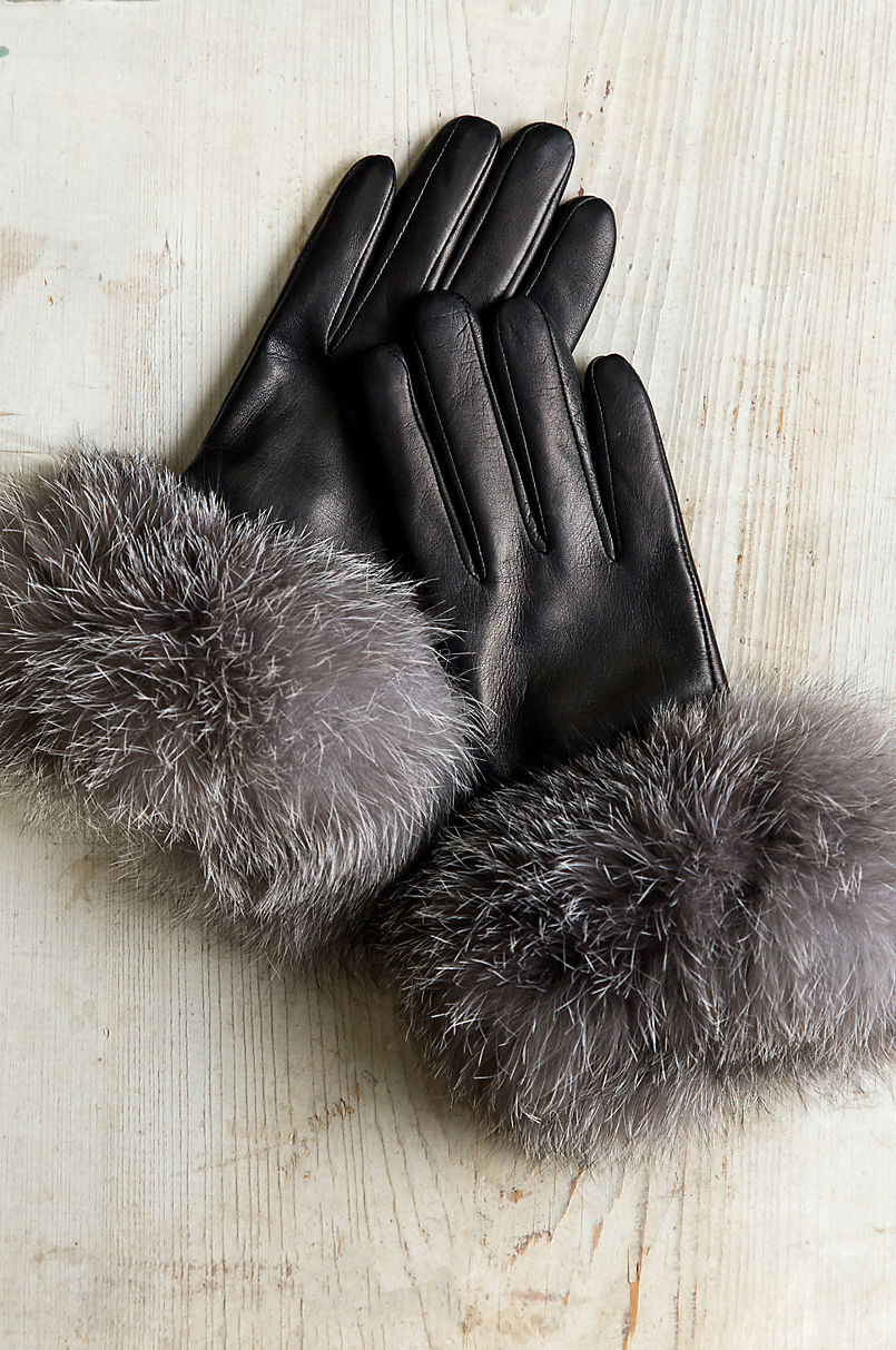 61e7ca22d464e Women's Cashmere-Lined Lambskin Leather Gloves with Fox Fur Trim ...