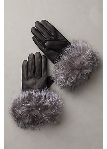 Women's Cashmere-Lined Lambskin Leather Gloves with Fox Fur Trim