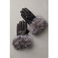 Victorian Gloves | Victorian Accessories Womens Cashmere-Lined Lambskin Leather Gloves with Fox Fur Trim BLACKINDIGO Size 8 $99.00 AT vintagedancer.com