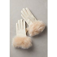 Vintage Style Gloves Womens Cashmere-Lined Lambskin Leather Gloves with Fox Fur Trim IVORYBLUSH Size 8 $99.00 AT vintagedancer.com
