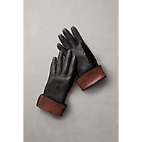 Victorian Gloves | Victorian Accessories Womens Silk-Lined Lambskin Leather Gloves BLACKCOGNAC Size 8 $69.00 AT vintagedancer.com