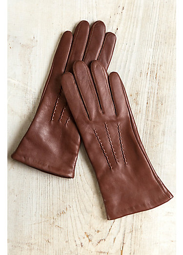 Women's Cashmere-Lined Lambskin Leather Gloves