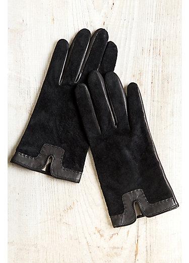 Women's Two-Tone Silk-Lined Lambskin Leather Gloves