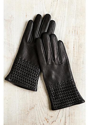 Women's Woven Cuff Silk-Lined Lambskin Leather Gloves