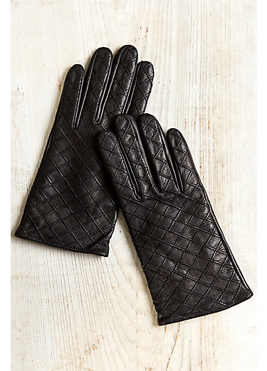 Women's Diamond Quilt Cashmere-Lined Lambskin Leather Gloves