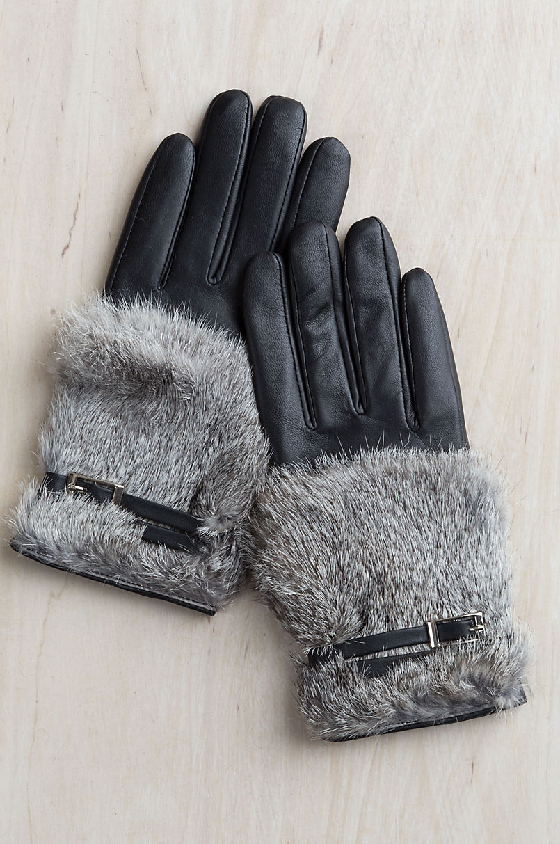 Women's Magnolia Lambskin Leather Gloves with Rabbit Fur Trim