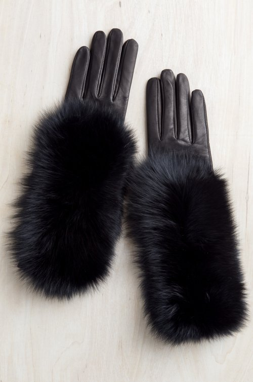 Women's Hazel Lambskin Leather Gloves with Fox Fur Trim