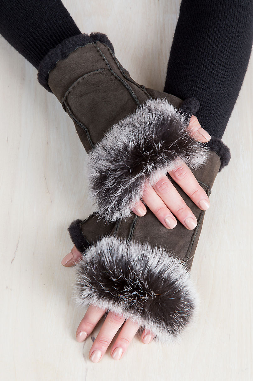 Women's Teak Shearling Fingerless Gloves