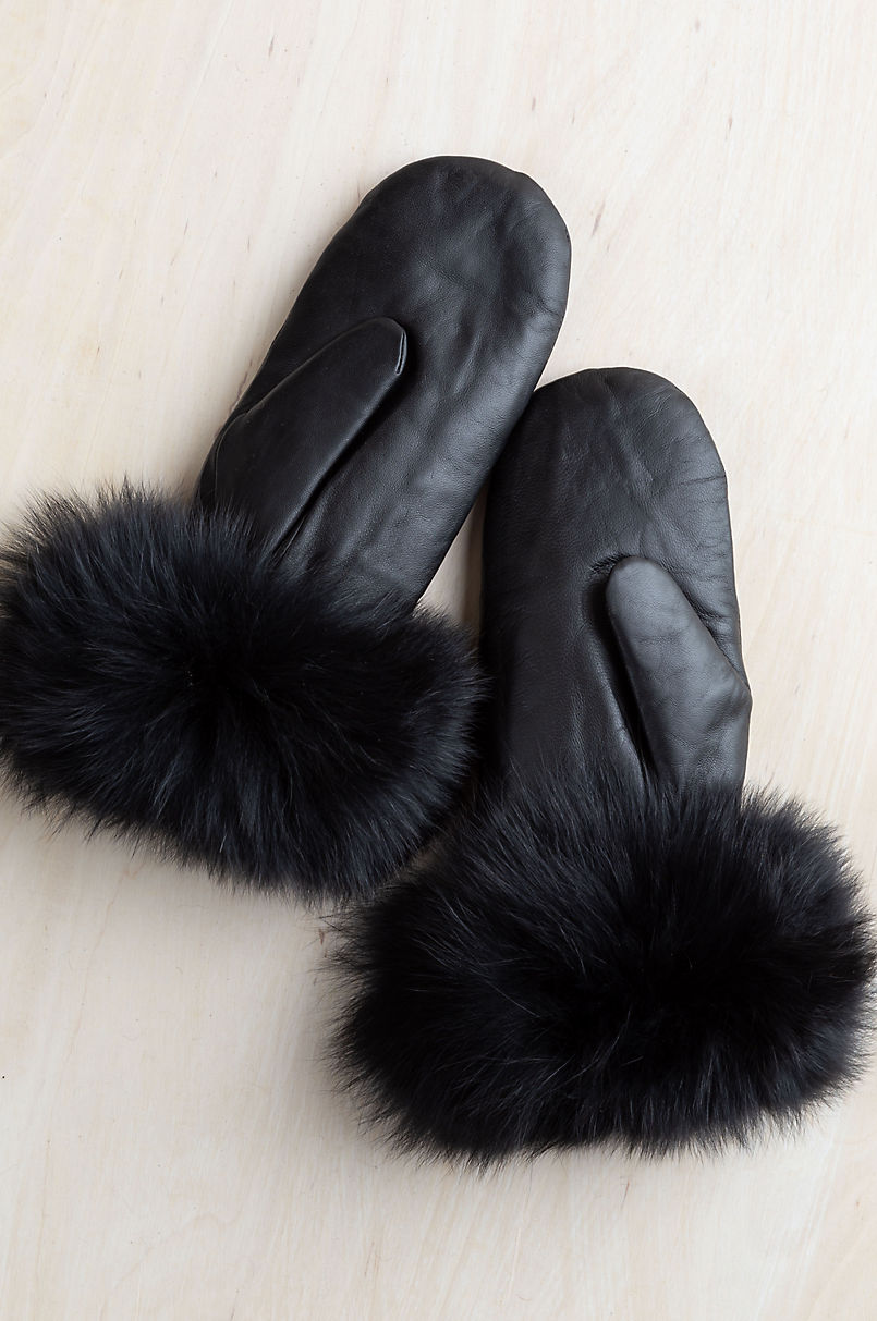Women's Birch Shearling-Lined Lambskin Leather Mittens with Fox Fur Trim