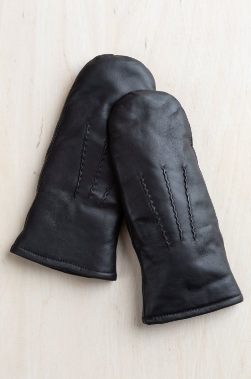 Women's Amaryllis Lambskin Leather Mittens with Shearling Lining