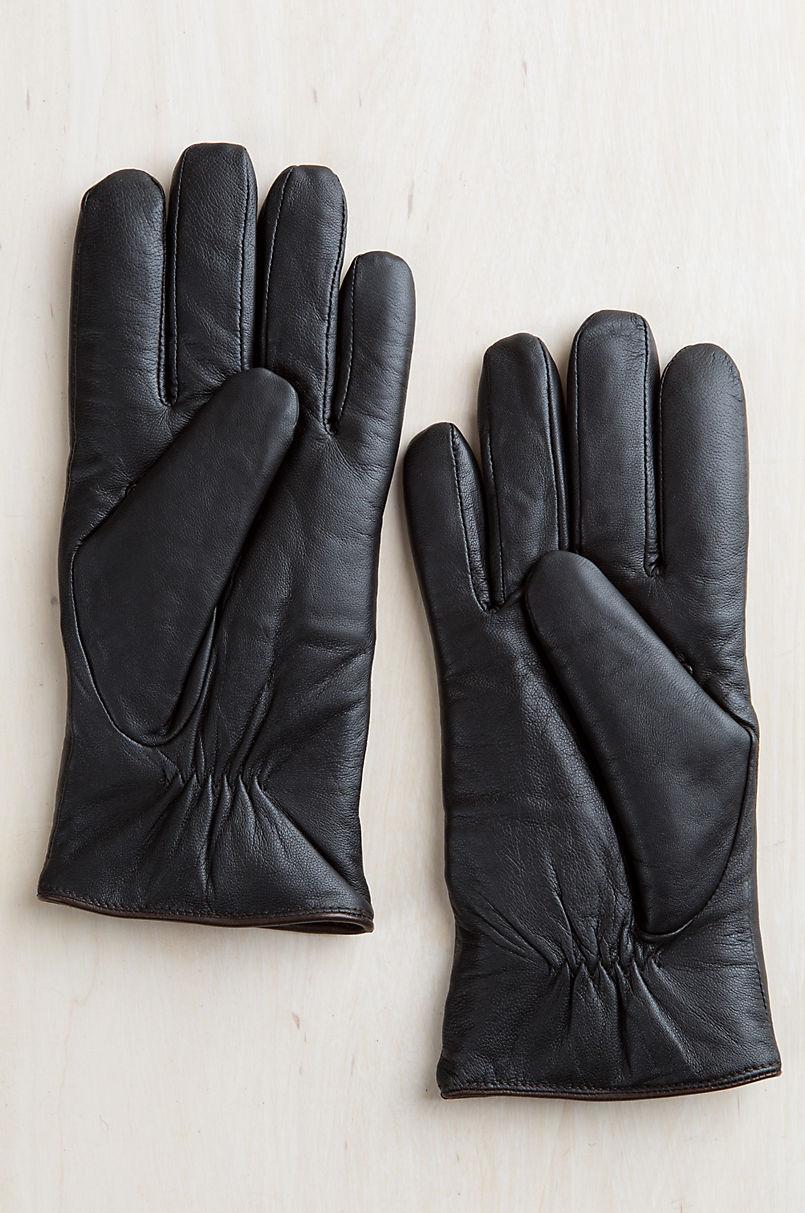 Men's Beech Shearling-Lined Lambskin Leather Gloves